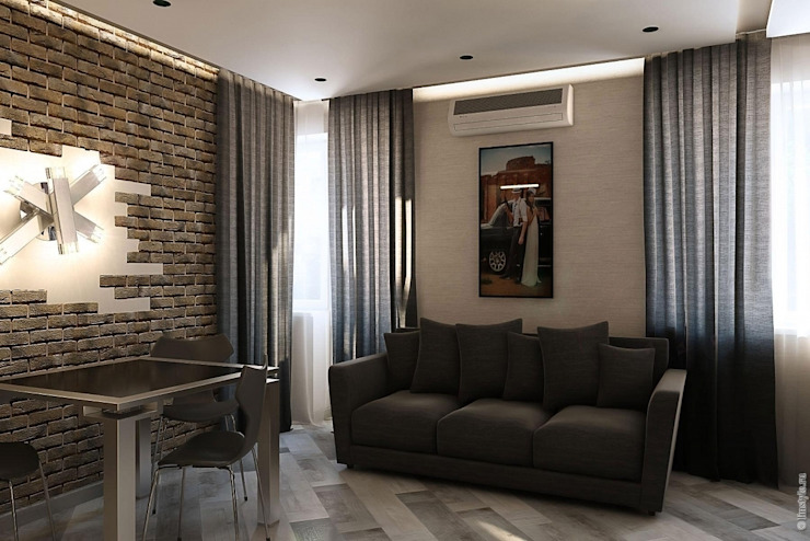 Гостиная - кухня Гостиная в стиле лофт от Дизайн-бюро «Линия стиля» Лофт