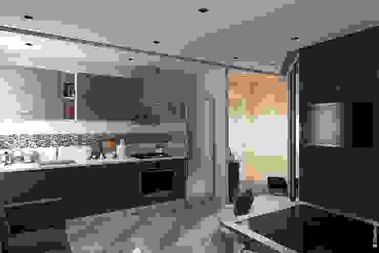 Гостиная - кухня Кухня в стиле лофт от Дизайн-бюро «Линия стиля» Лофт