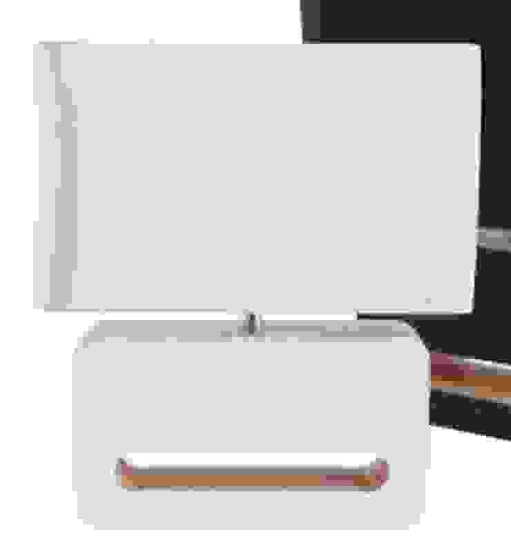 Lámpara de mesa de madera, blanca de Casada Health & Beauty Moderno