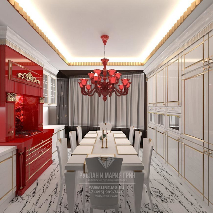 ДИЗАЙН КУХНИ Столовая комната в стиле модерн от Студия дизайна интерьера Руслана и Марии Грин Модерн