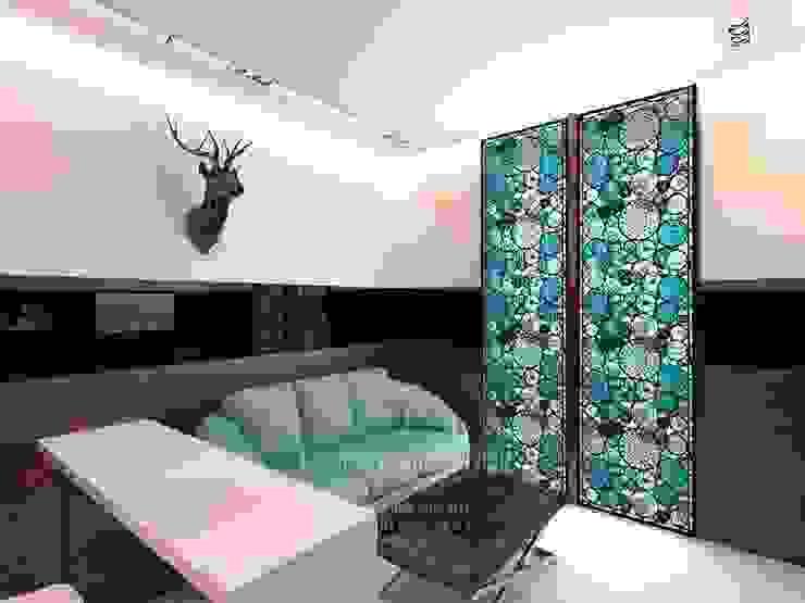 Минималистичный кабинет с рабочей зоной Студия дизайна интерьера Руслана и Марии Грин Рабочий кабинет в стиле минимализм