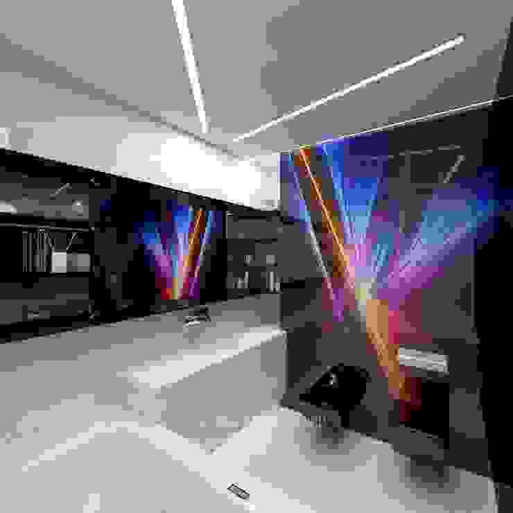 Интерьер ванной в футуристическом стиле Студия дизайна интерьера Руслана и Марии Грин Ванная комната в эклектичном стиле