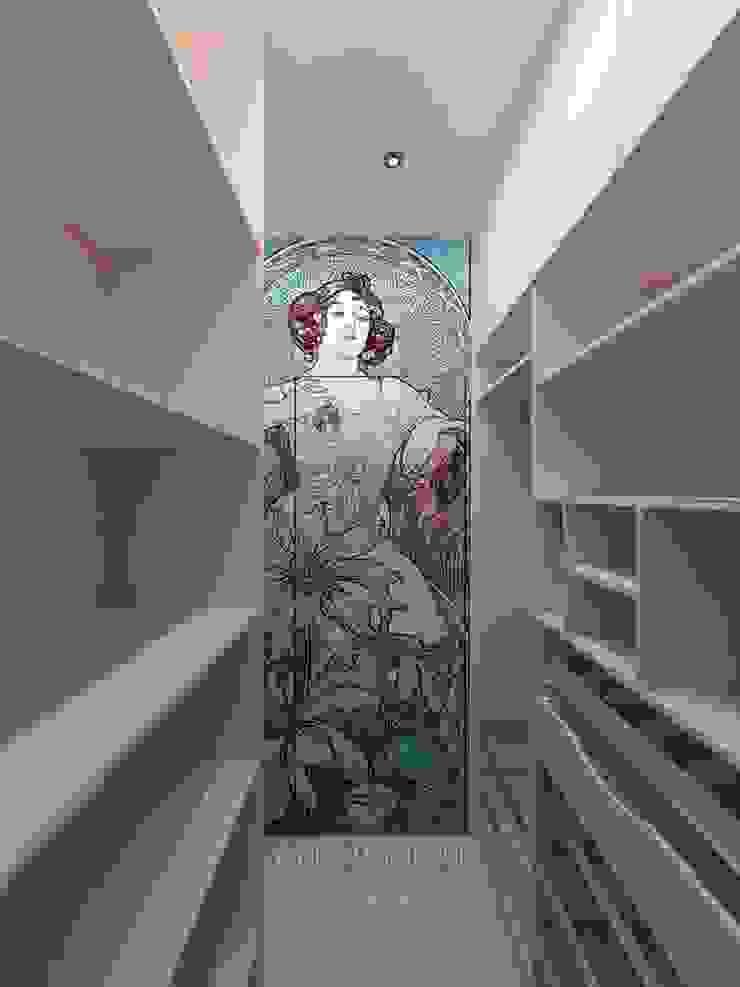 Декор в стиле модерн в интерьере гардеробной комнаты Студия дизайна интерьера Руслана и Марии Грин Гардеробная в стиле модерн