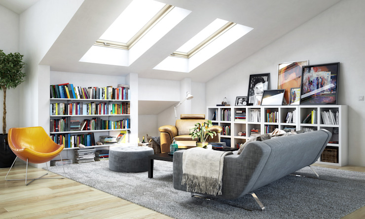 Cosy attic room. Piwko-Bespoke Fitted Furniture Living roomShelves