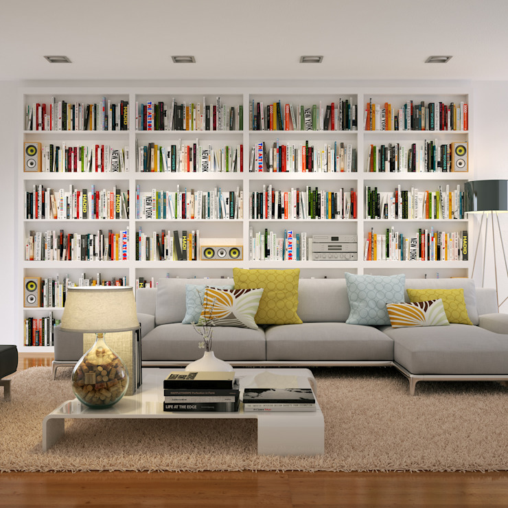 Home Library:  Living room by Piwko-Bespoke Fitted Furniture,