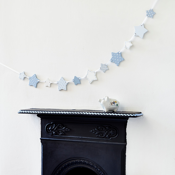 Blue Wooden Star Bunting par Altered Chic Rustique