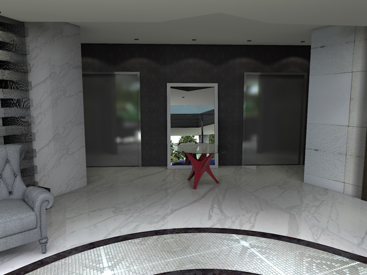 LB1515 Pasillos, vestíbulos y escaleras modernos de Arq. Jacobo Smeke Moderno