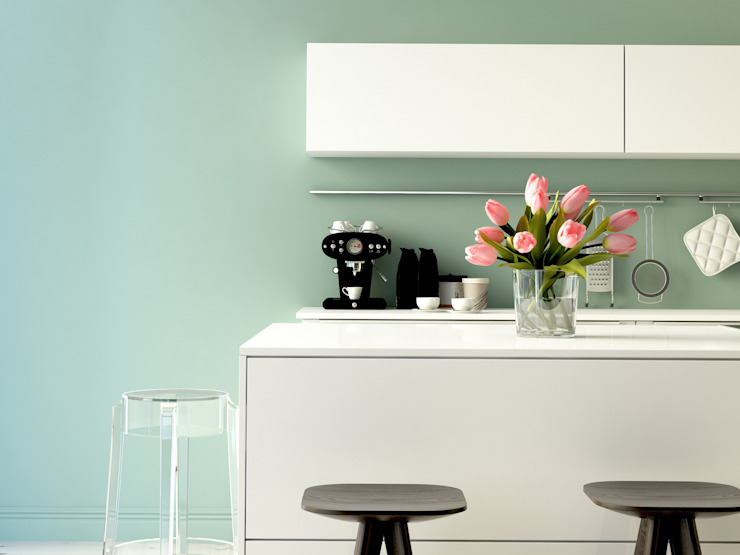 White Modern High-Gloss Kitchen. Piwko-Bespoke Fitted Furniture 廚房收納櫃與書櫃