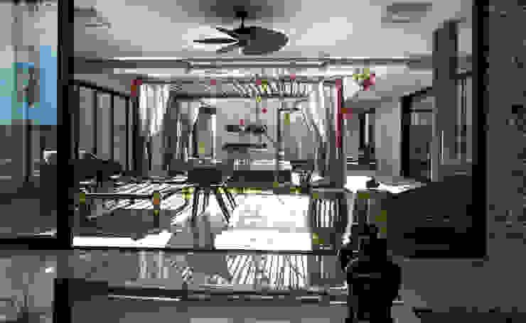 Varanda, vista emoldurada do living. Varandas, alpendres e terraços minimalistas por RABAIOLI I FREITAS Minimalista