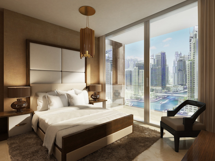 The Residences at Marina Gate, Dubai, by Aedas Modern style bedroom by Architecture by Aedas Modern