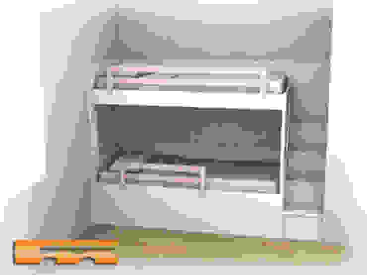 Proyecto de 3D de Litera a medida con escalera de cajones Dormitorios infantiles de estilo moderno de Fusteriamanel.com Moderno