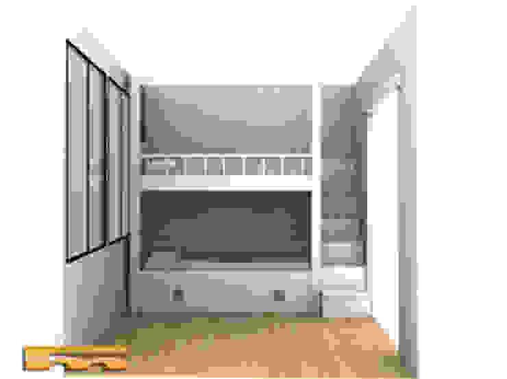 Proyecto 3D Litera a medida Escalera Lateral | Habitación Infantil | Barcelona | Manel Dormitorios infantiles de estilo moderno de Fusteriamanel.com Moderno