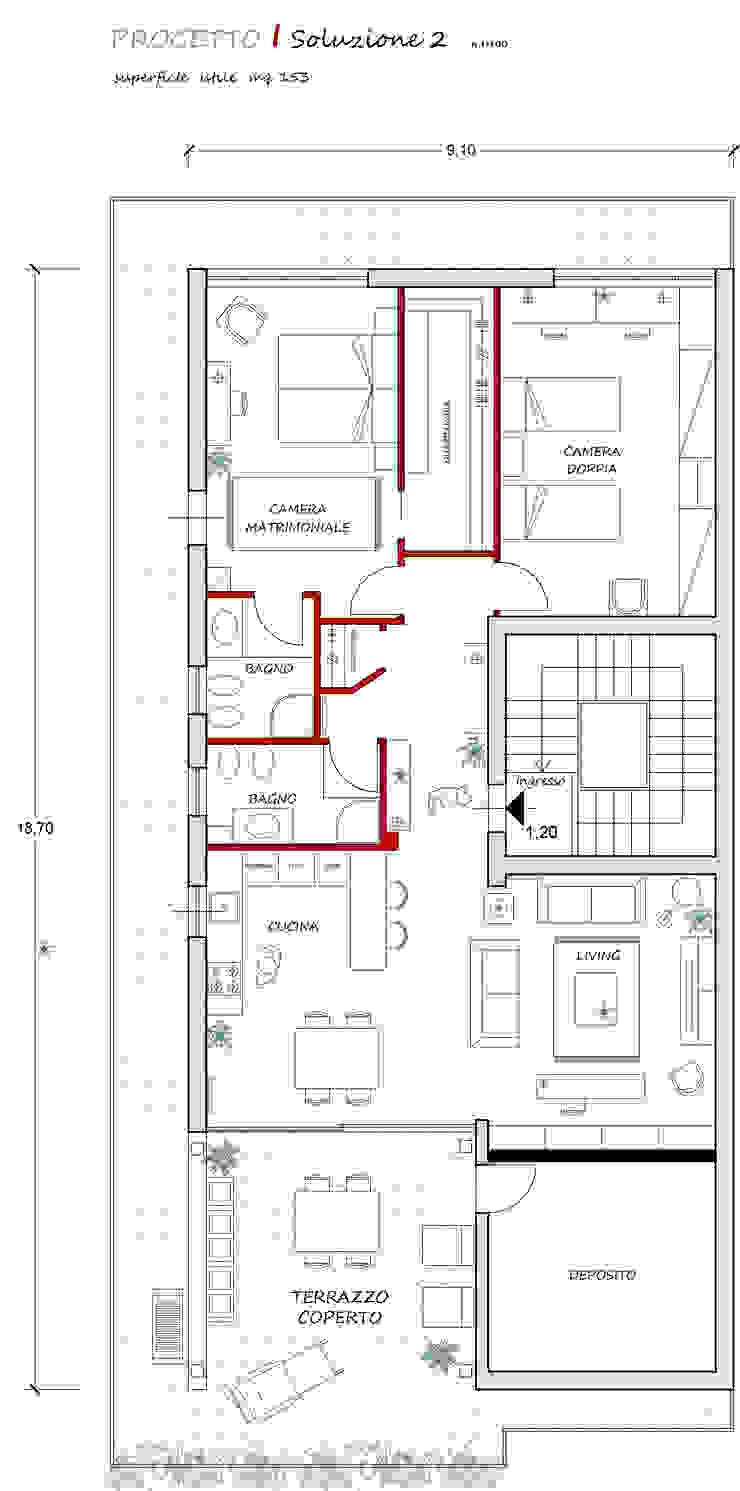 pianta di progetto francesca ravidà architetto | interior designer Soggiorno eclettico