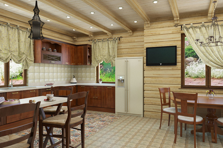 Дизайн-проект деревянного дома Столовая комната в рустикальном стиле от Студия дизайна и декора Светланы Фрунзе Рустикальный