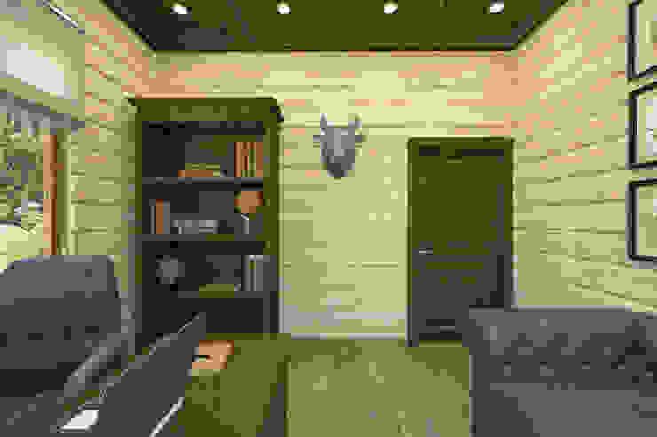 Дизайн-проект деревянного дома Рабочий кабинет в рустикальном стиле от Студия дизайна и декора Светланы Фрунзе Рустикальный
