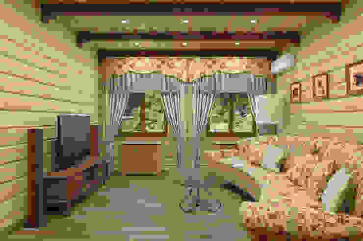 Дизайн-проект деревянного дома Гостиная в рустикальном стиле от Студия дизайна и декора Светланы Фрунзе Рустикальный