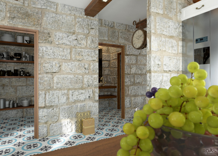 ROAS ARCHITECTURE 3D DESIGN AGENCY Mediterranean style corridor, hallway and stairs