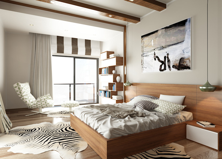 The Bedroom View1 Modern Yatak Odası ROAS ARCHITECTURE 3D DESIGN AGENCY Modern