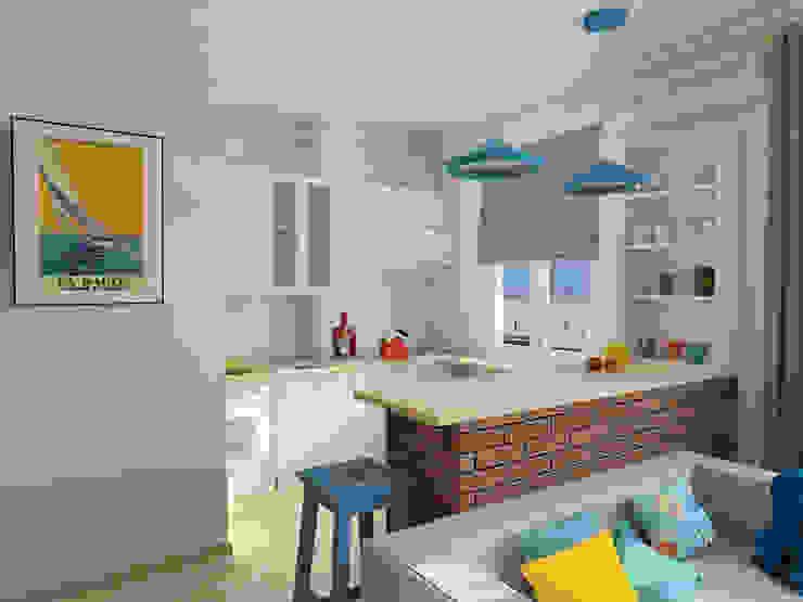 Квартира-студия в скандинавском стиле Кухня в скандинавском стиле от Студия дизайна и декора Светланы Фрунзе Скандинавский