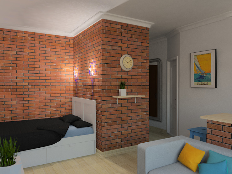 Квартира-студия в скандинавском стиле Гостиная в скандинавском стиле от Студия дизайна и декора Светланы Фрунзе Скандинавский