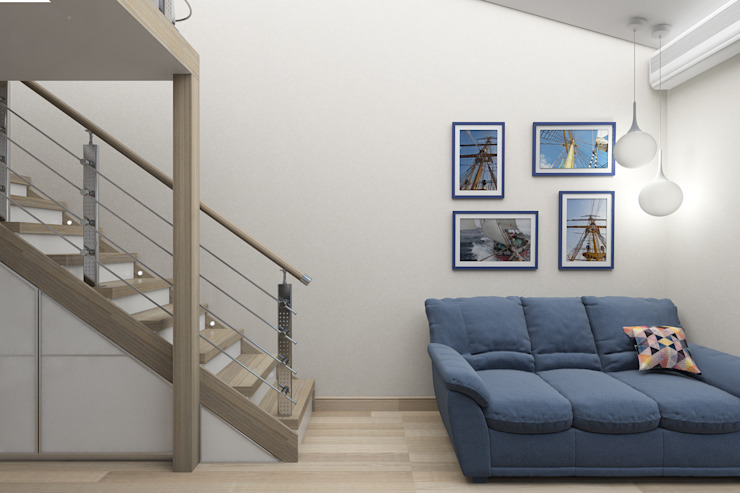 Мансардная квартира Гостиная в стиле модерн от Студия дизайна и декора Светланы Фрунзе Модерн