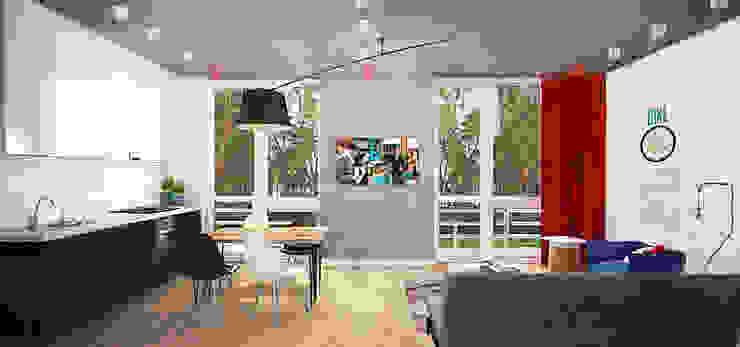 Маленькая квартира в стиле Лофт Гостиная в стиле лофт от INCUBE Алексея Щербачёва Лофт