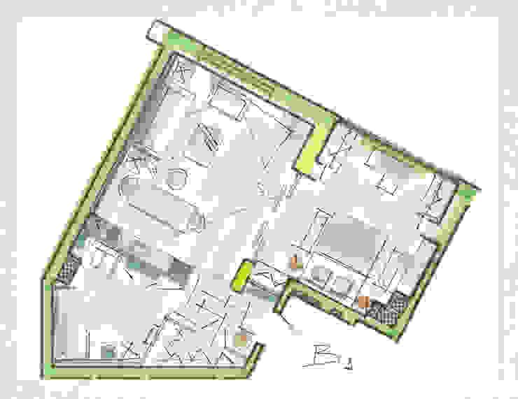 Планировка квартиры в стиле лофт. Вариант 1 от Дизайн студия Ольги Кондратовой Лофт