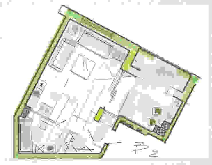 Планировка квартиры в стиле лофт. Вариант 2 от Дизайн студия Ольги Кондратовой Лофт
