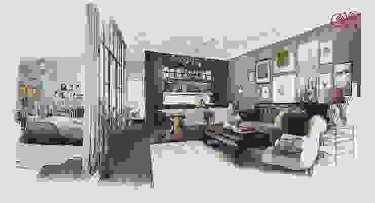 Квартира в стиле лофт: эскиз интерьеров кухни-гостиной и спальни Гостиная в стиле лофт от Дизайн студия Ольги Кондратовой Лофт