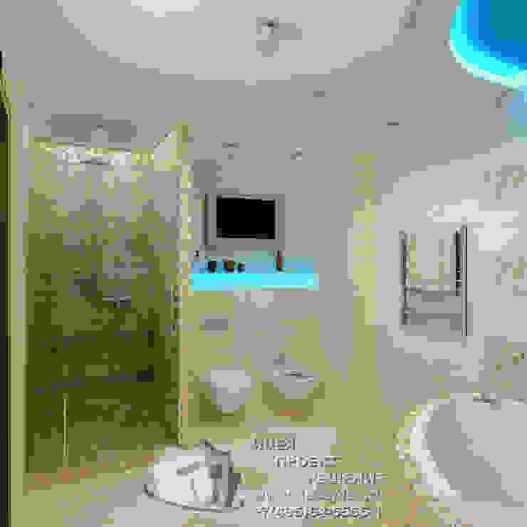 Фото интерьера санузла с мозаичной отделкой Бюро домашних интерьеров Ванная комната в стиле минимализм