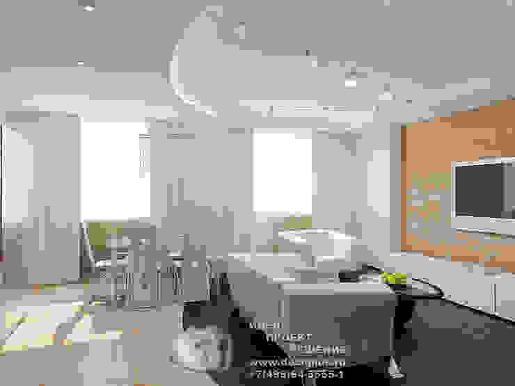 Фото интерьера гостиной-кухни-столовой Бюро домашних интерьеров Столовая комната в стиле минимализм