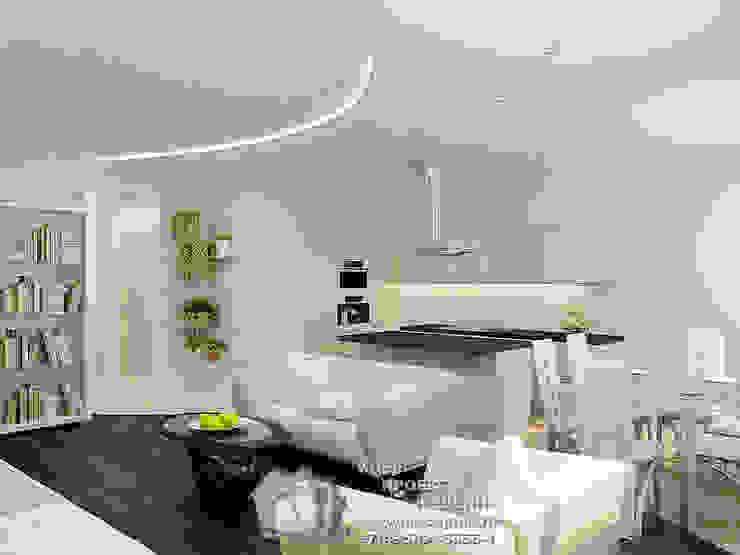 Фото интерьера гостиной в современной квартире-студии Бюро домашних интерьеров Гостиная в стиле минимализм