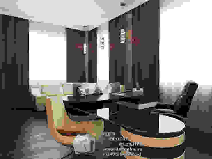 Бежево-коричневый кабинет в стиле арт-деко Рабочий кабинет в эклектичном стиле от Бюро домашних интерьеров Эклектичный