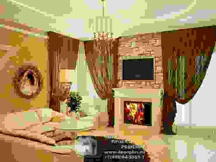 Камин в интерьере гостиной в стиле прованс Гостиная в стиле кантри от Бюро домашних интерьеров Кантри