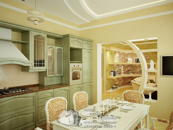 Вид из кухни на гостиную Кухня в стиле кантри от Бюро домашних интерьеров Кантри
