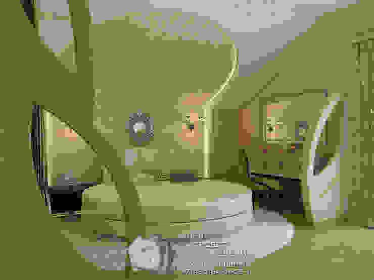 Фото интерьера спальни с круглой кроватью Спальня в стиле кантри от Бюро домашних интерьеров Кантри