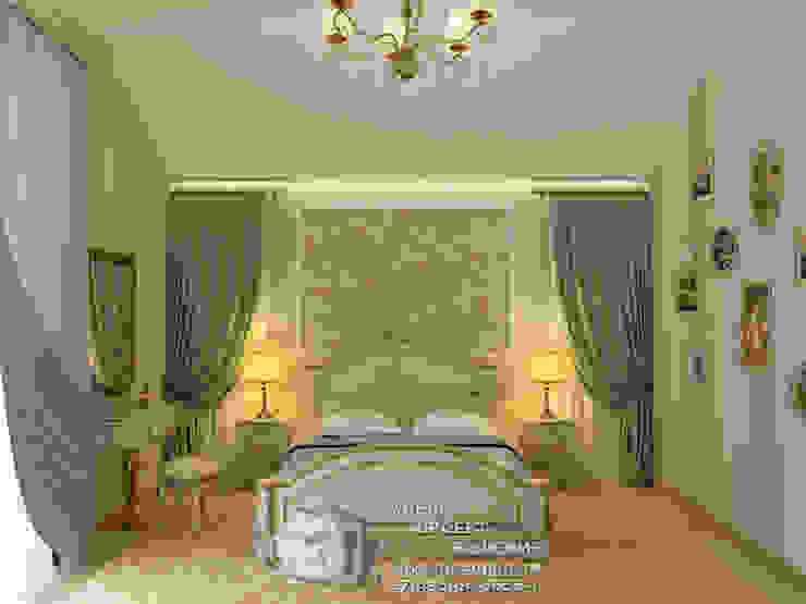 Зеленая спальня в провансальском духе Спальня в стиле кантри от Бюро домашних интерьеров Кантри