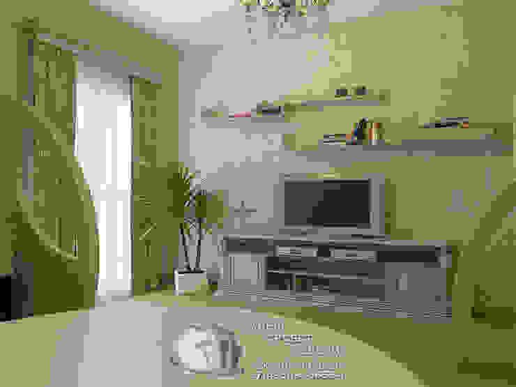 Зеленая спальня с ТВ-зоной Спальня в стиле кантри от Бюро домашних интерьеров Кантри