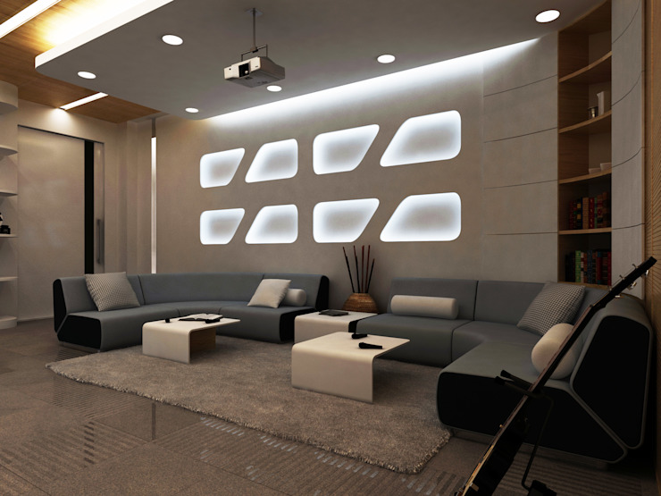 Modern media room by Lenz Architects Modern
