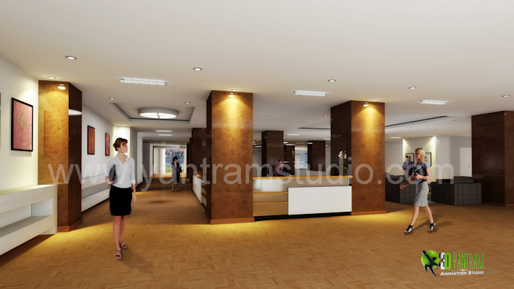 3D Interior Design Rendering for commercial office Reception: modern  by Yantram Architectural Design Studio, Modern