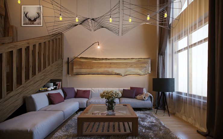 Rustic style living room by NK design studio Rustic