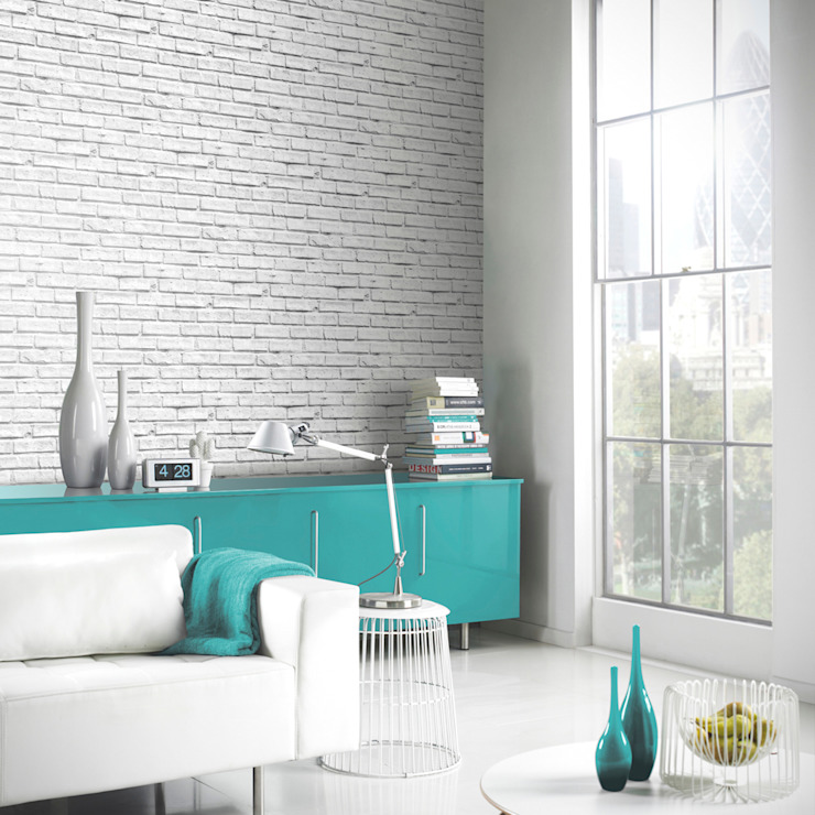 Arthouse VIP White Brick Wall Photographic Stone Effect Wallpaper 623004 par I Want Wallpaper Moderne