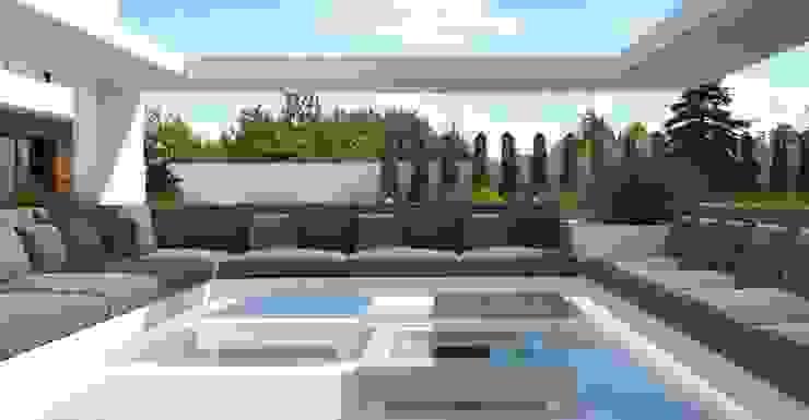 Загородный дом в Краснодаре Балкон и терраса в стиле модерн от NK design studio Модерн