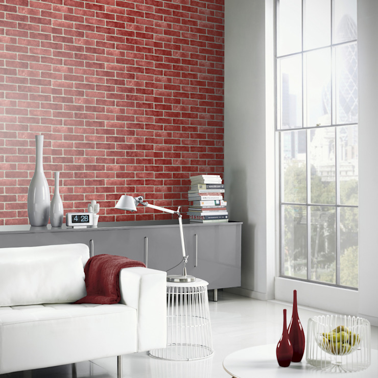 Arthouse VIP Red Brick Wall Pattern Faux Stone Effect Motif Mural Wallpaper 623006 de I Want Wallpaper Moderno