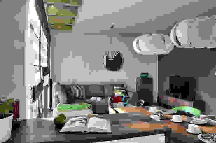 Mieszkanie dwupoziomowe w Kiełczowie Nowoczesny salon od Pracownia Kaffka Nowoczesny
