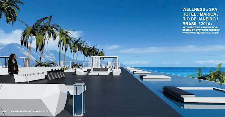 Проект Wellness Spa Hotel, Rio De Janeiro, Brasil Гостиницы в стиле минимализм от Svetozar Andreev Architectural Studio: Hotei-Russia Минимализм