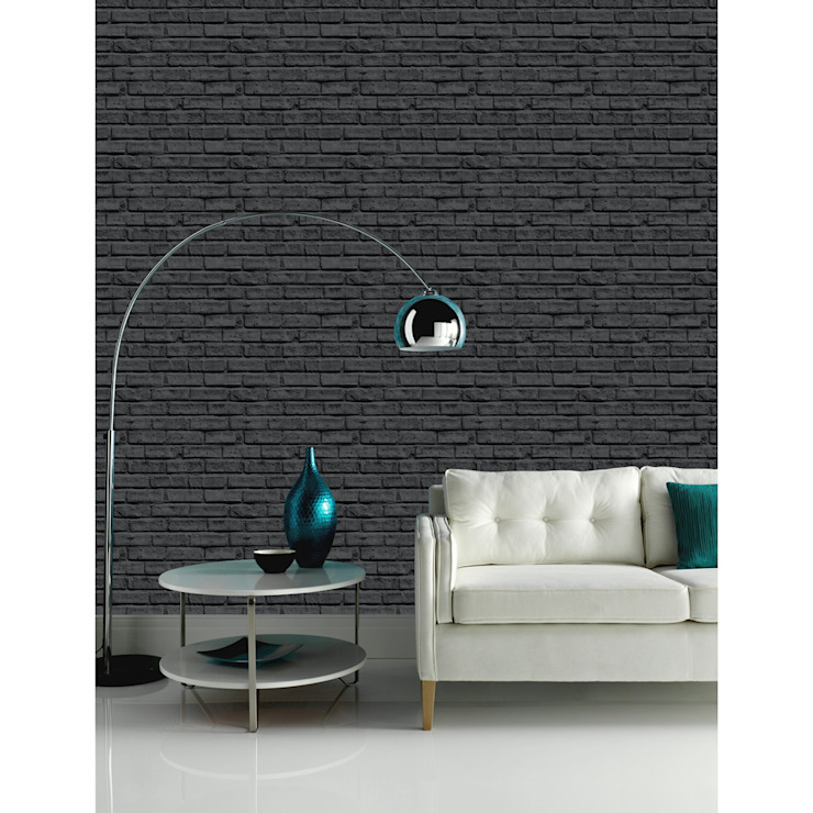 Arthouse VIP Black Brick Wall Pattern Faux Stone Effect Motif Mural Wallpaper 623007: modern  by I Want Wallpaper, Modern