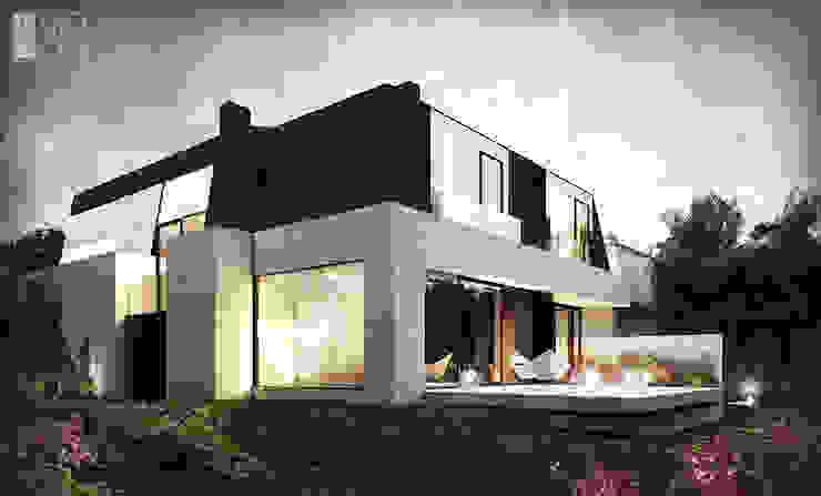 Rezydencja z licznymi przeszkleniami Nowoczesne domy od Pracownia projektowa artMOKO Nowoczesny