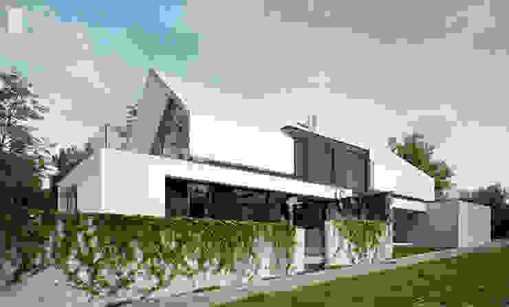 Rezydencja z ultra nowoczesną elewacją: styl , w kategorii Domy zaprojektowany przez Pracownia projektowa artMOKO,Nowoczesny