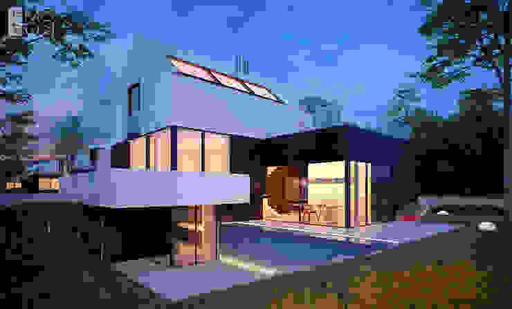 Nowoczesne połączenie domu z ogrodem Pracownia projektowa artMOKO Nowoczesne domy